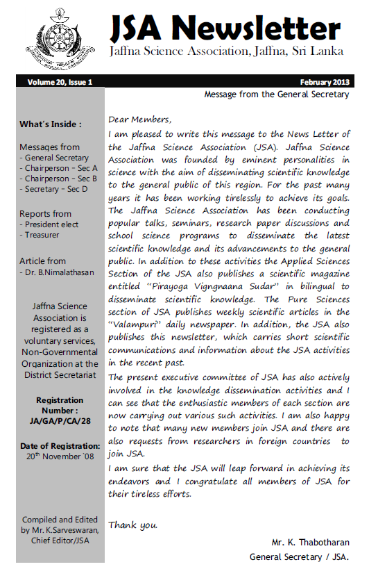 Newsletter 2013-03-04